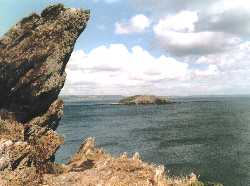 St. George's Island seen from the coastal path between Looe and Talland. Photo: R.J.Tarr, 1999